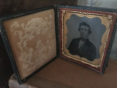 AMBROTYPE 1/6th PLATE FULL CASE GENTLEMAN IN SUIT