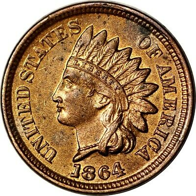 "1864 1C No ""L"" Indian Head Cent AU RB  K5949"