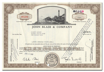 John Blair & Company Stock Certificate (Television Stations)