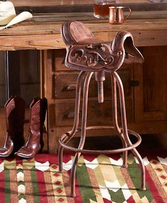 Adjustable Vintage Cast Iron Saddle Bar Stool Seat Chair Western Rustic Cowboy