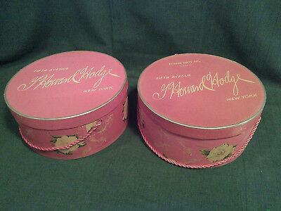 2 Vintage Hat Boxes - pink - G Howard Hodge Fifth Avenue New York