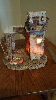 "FONTANINI ITALY 5"" EARLY LIGHTED Marketplace VILLAGE NATIVITY 50255 Retired Box"