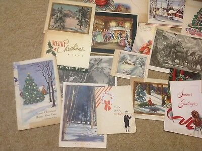 Vintage Christmas Business Cards Lot Of 18