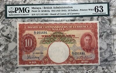 Malaya and British Borneo: 1941 $10 Pick 13 PMG 63