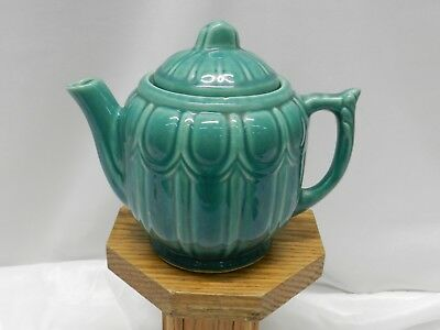 """Vintage Ceramic Mossy Green Tea Pot Marked Usa 6"""" Tall 7"""" Wide"""
