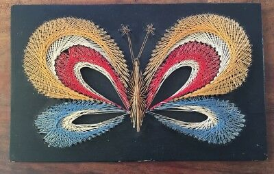 Vintage Collectable 70s Multi Coloured Butterfly Nail Art Wall Hanging