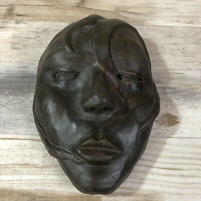 Vintage Clay Pottery Somber Mask Art Decor Estate Sale Find