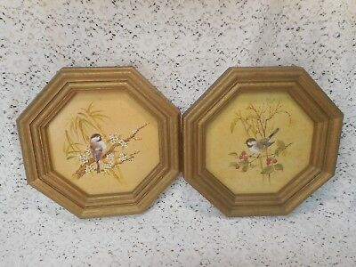 2 Vintage (1982) HOMCO® Chickadee Song Birds Pictures in Octagonal Frames