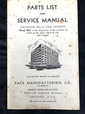 Pace Slot Machine Service Manual and Parts List   ORIGINAL
