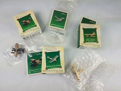 Hallmark Miniature Ornament Lot of 3 Sky's The Limit Plane St Louis Curtiss