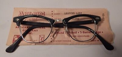 Vintage Art Craft Leading Lady Blue Slate 42/20 Cateye 12KGF Eyeglass Frame NOS