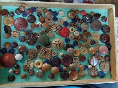 Lot Of Vintage Wood Buttons - Carved & More