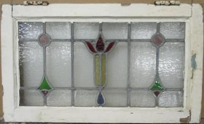 "MID SIZED OLD ENGLISH LEADED STAINED GLASS WINDOW Colorful Drops 25.25"" x 15"""