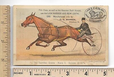 C&I TROTTING QUEEN MAUD S. LION HARNESS REIN LEATHERS CURRIER & IVES Trade Card