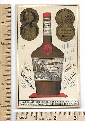 GREAT AMERICAN CORDIAL BITTERS H.A.Chalvin Trade Card