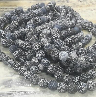 Natural Weathered Black Agate A Grade 10mm 40pce Strand. Free postage. Oz Seller