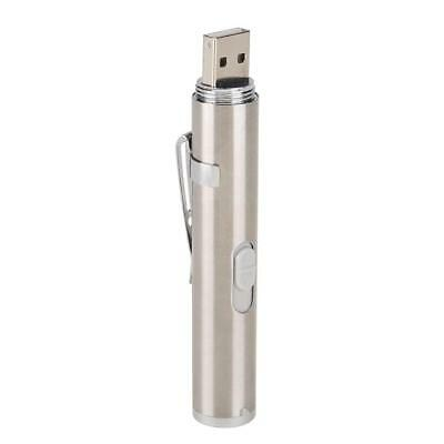 2 in 1 USB Rechargeable Mini Red Laser Pointer  with LED Light Stainless Steel