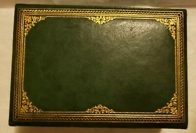 Vintage Green DUNHILL Leather Box Cigar Cigarettes Wood Interior Gold Decorated