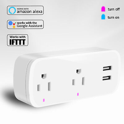 Wifi Smart Plug Timer Outlet With 2 USB Port Socket Work With Alexa/Google Home