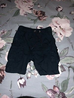 Country Rd Baby Boy Cargo Navy Shorts Size 12-18
