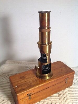 Antique Brass Student Field Microscope in Wood Case