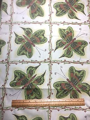 Vintage Cotton Fabric 50s 60s CUTE Retro NOVELTY Butterflies 35w 1yd