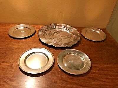 Lot of 5 Vintage STERLING SILVER Plates, 760 grams