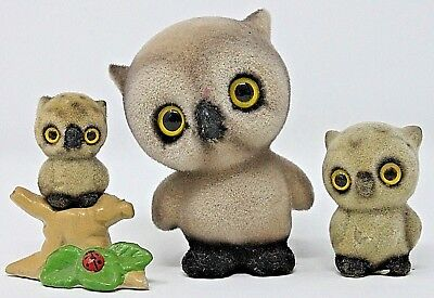 VINTAGE Set of 3 Big Eyed Fuzzy Owls, Josef? Small-Med-Lg, Flocked Clay AS IS