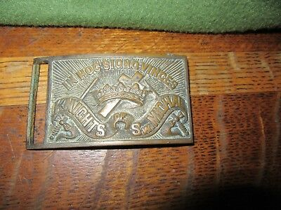 "Vintage Brass Belt Buckle ""IN HOC SIGNO VINCES"" KNIGHTS OF SW. MICHAL"""