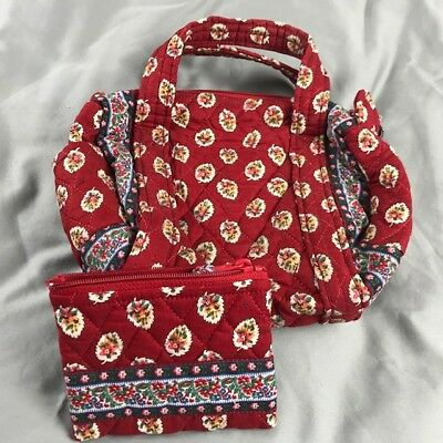 Vera Bradley Handbag VGUC and Vera Bradley Wallet Both red w/Colorful Leaves