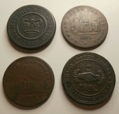 Antique Early 19th Century English / Great Britain One Penny Token LOT - Conder