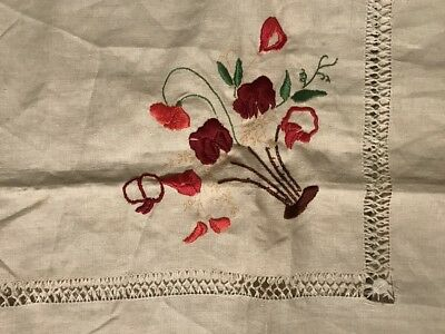 Vintage Linen Transfer Embroidery Table Supper Cloth Hemmed AS IS
