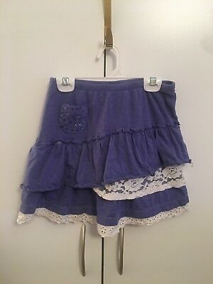 naartjie Girls Layered Periwinkle & Lace Skirt Stretchy Sz XL (7) EUC