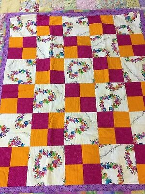 Vintage Handmade Four Patch Quilt Signed