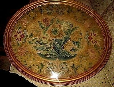 Antique Large Oval Floral Fine Tapestry Handmade Needlepoint 21-1/2 X 18-1/2)