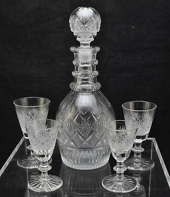 Antique Pittsburgh Strawberry Diamond Cut Flint Glass Decanter + 4 Stems c 1825