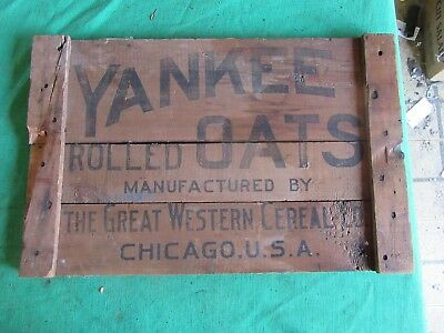 Vintage Yankee Rolled Oats Wood Sign Crate Lid Only 1 On Ebay!    Lot 18-85-35