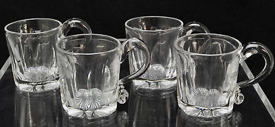 Set of 4 Antique Slice Cut Blown Flint Glass Mugs 19th Century