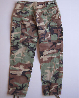 Vtg Camouflage Cargo Pants Army Woodland Camo Ripstop Military Mens Large Long