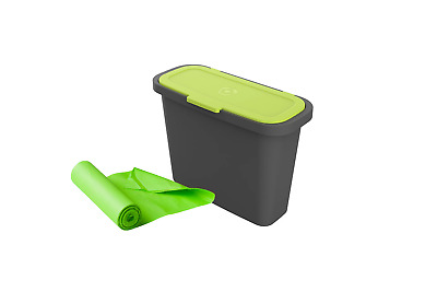 9 Litre Maze Slim Kitchen Bench Caddy Compost Bin with 20 x Compostable Bags Org