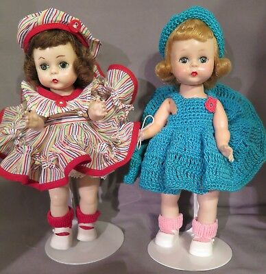 "Two 8"" dolls, clothes lot, Alex on back, Walkers, 1950's"