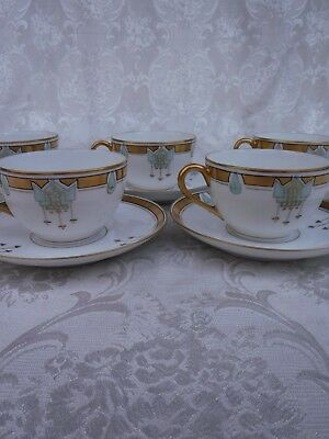 5pc Pickard Art Deco Tea or Coffee Cups with Saucers