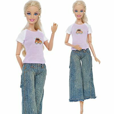 Handmade Daily Dress Blouses Jeans Outfit Accessories Clothes For 12 in. Doll #A