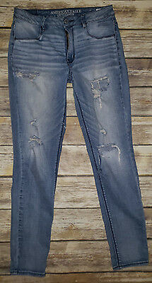 Womens AMERICAN EAGLE Destructed Distressed Sky High Jegging Jeans Sz.8 Regular