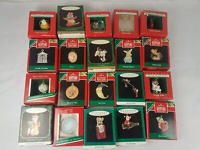 Hallmark Miniature Ornament Lot of 20 80's 90's Santa Soldier Mouse Bunny Angel