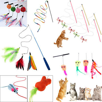 Cat Kitten Pet Teaser Feather Interactive Stick Toy Wire Chaser Wand Playing Toy