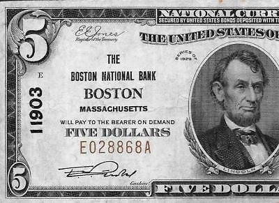1929 $5 BOSTON #11903 Banknote - High Grade