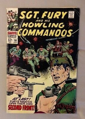 Marvel Comics 1968 SGT. FURY And His HOWLING COMMANDOS #58 VG/FN 5.0