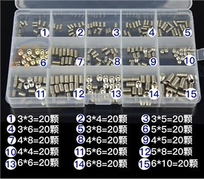300Pcs a Set M3 M4 M5 M6 Mix 304 Stainless Steel Screws Groove End Hex Socket