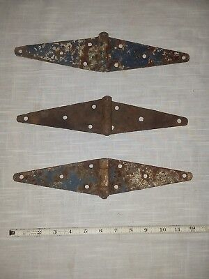 "3 Antique Vintage Iron Strap Hinges 12-1/4"" Farm Shed Door Barn Salvage"